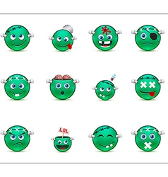 Series green smilies style zombies vector