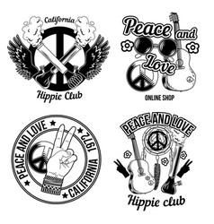 Set hippie emblems vector