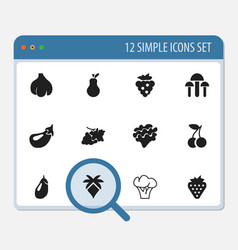 Set of 12 editable fruits icons includes symbols vector