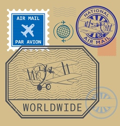 Set of air mail symbols vector