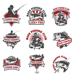 Set of bass fishing emblem templates isolated vector