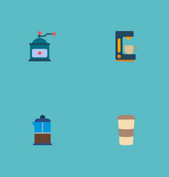 Set of coffee icons flat style symbols with pot vector
