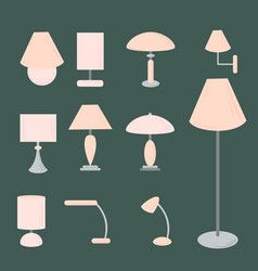 set of different types of indoor lighting vector image