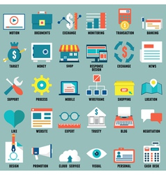 Set of flat business commerce service icons vector image