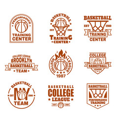 Set of isolated basketball icons with ball basket vector