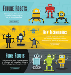 set of three horizontal future robot banners with vector image