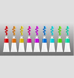 set paints tubes with blots top view palette vector image