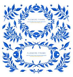 Set with blue gzhel floral motif vector
