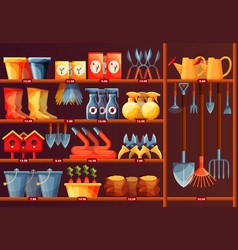Showcase with garden accessory equipment at shop vector