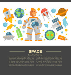 space promotional poster with spaceman and modern vector image