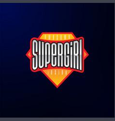 sport emblem typography super girl hero logotype vector image