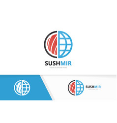 sushi and planet logo combination japanese vector image