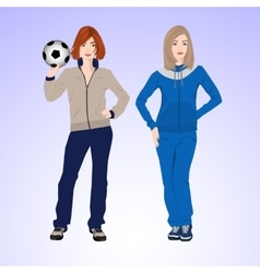Two sports woman with a soccer ball vector