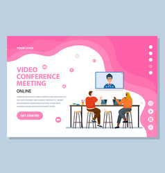 video conference meeting with boss website page vector image