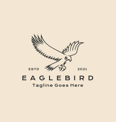 Vintage hipster line art eagle bird logo icon vector
