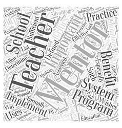 What is teacher mentoring Word Cloud Concept vector