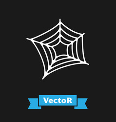 White spider web icon isolated on black background vector