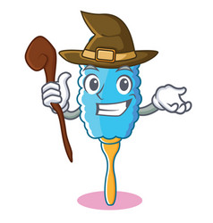 witch feather duster character cartoon vector image