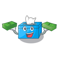 With money cartoon tissue box on a sideboard vector