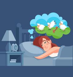 Woman counts sheep to sleep insomnia cartoon vector