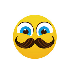 Yellow smiling cartoon face wear mustache positive vector