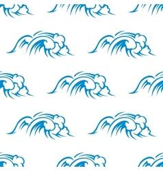Curling breaking waves seamless pattern vector image