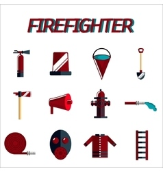 firefighter flat icon set vector image