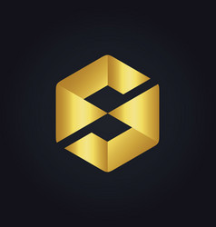 Gold abstract rhombus letter s logo vector
