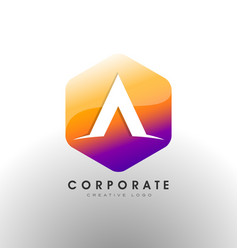 letter a logo corporate hexagon with letter a vector image