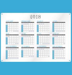 calendar for year 2018 vector image vector image