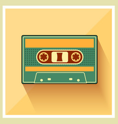Compact Cassette on Retro Background vector image vector image