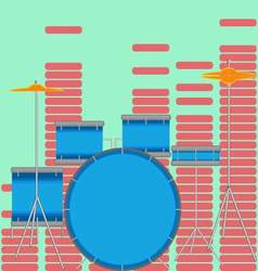 Drum set flat style vector image vector image