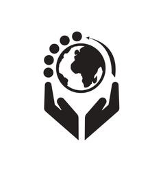 Flat icon in black and white earth hands vector