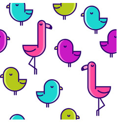 seamless pattern with flat birds flamingo vector image