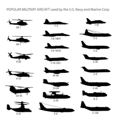 US Modern Military Aircraft Silhouettes vector image