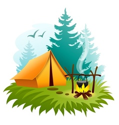 Camping in forest with tent vector image