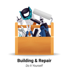 carpenter woodworker toolbox realistic image vector image vector image