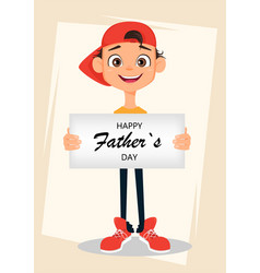 happy fathers day greeting card boy holding sign vector image vector image