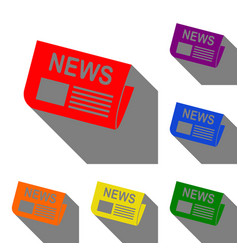 newspaper sign set of red orange yellow green vector image