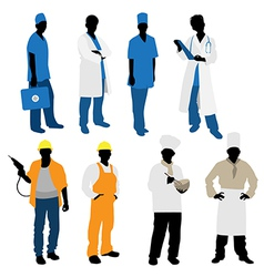 professions silhouettes vector image vector image