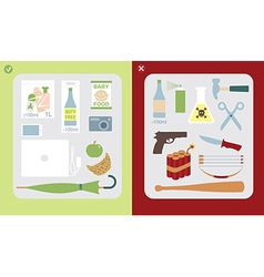 Restricted and prohibited items in hand baggage vector image