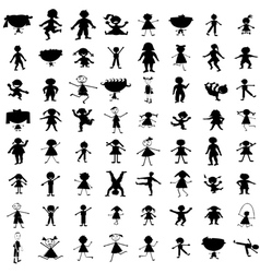 Set of hand drawn children silhouettes vector image vector image