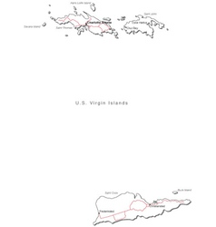 US Virgin Islands Black White Map With Major Citie vector image vector image