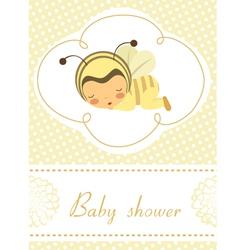 Baby shower card with sleeping bee girl vector