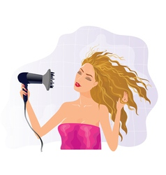 Blond girl with hairdryer vector image