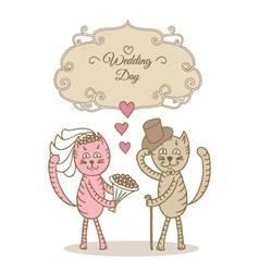 card wedding day wedding cat vector image