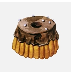choclate glazed cake vector image