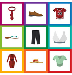 Flat icon dress set of clothes male footware vector