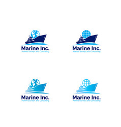 marine logistic company logo set vector image