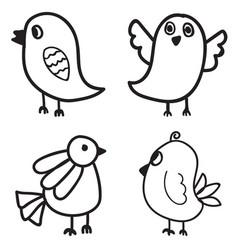 set of bird hand drawn design vector image vector image